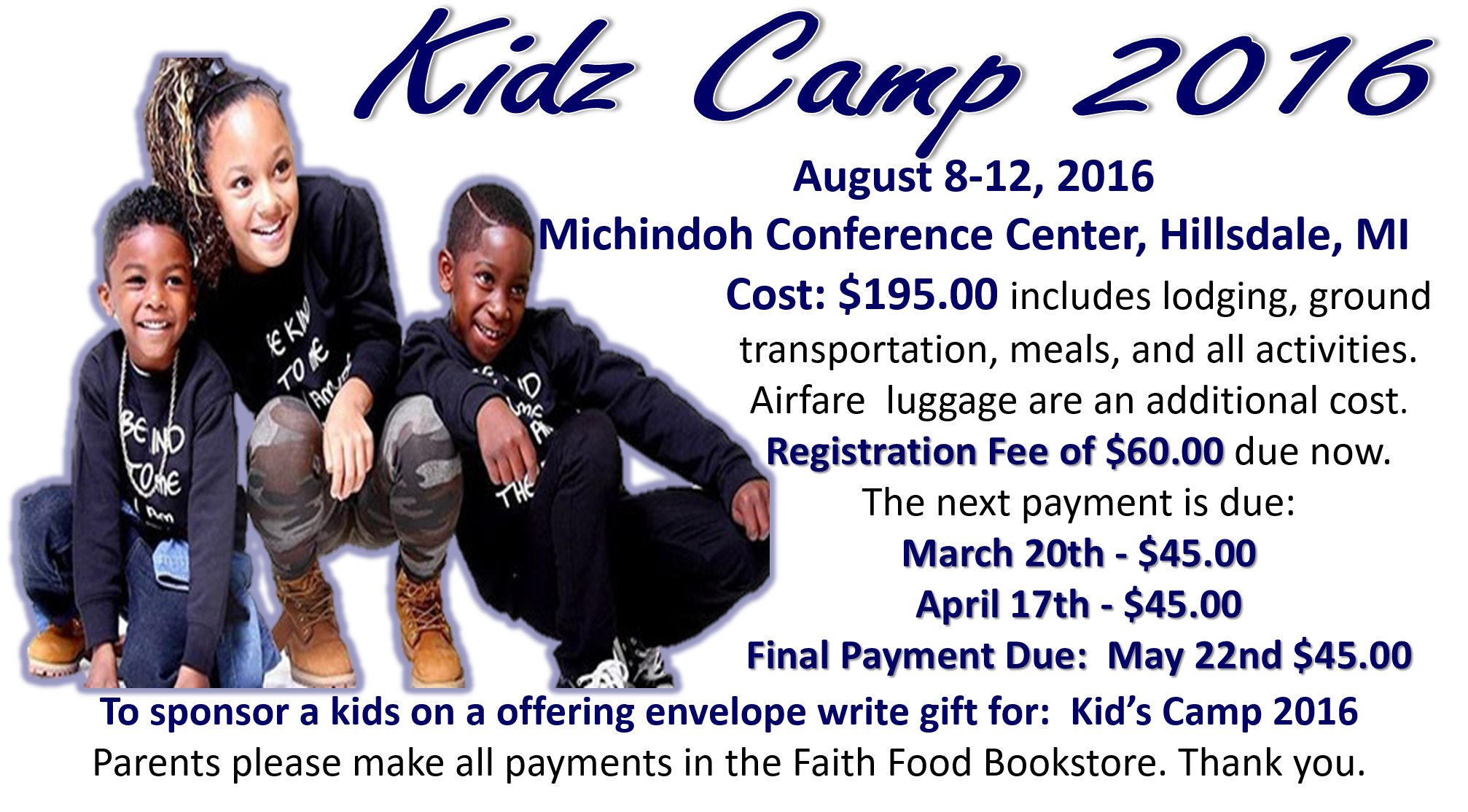 Kids Camp 2016 - Fee schedule