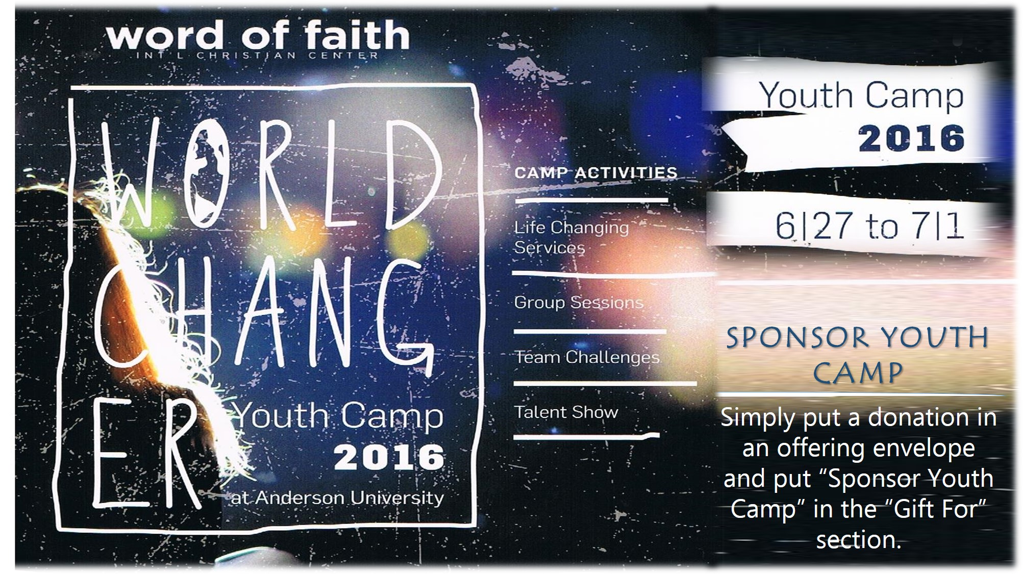 Youth Camp 2016 - June 27 - July 1